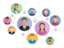 Social Networking Icon - Schematic People Group Silhouettes Connected To Each Other By Lines - Vector Conceptual Illustration
