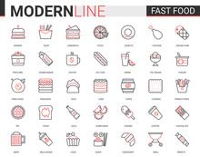 Fast Food Flat Thin Red Black ...