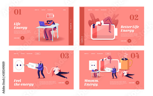 Fototapeta Low Energy and Working Burnout Landing Page Template Set. Tiny Exhausted Business People Characters Sleep and Relax obraz