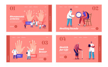 Rheumatoid Arthritis Landing Page Template Set. Tiny Doctor Characters Examine Huge With Joints Disease, Arms Treatment