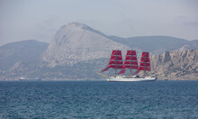 Ship With Scarlet Sails In The Sea