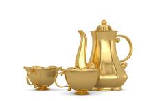 Gold  Tea Set Isolated On Whit...