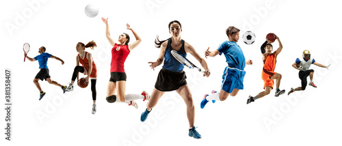 Tela Collage of different professional sportsmen, fit men and women in action and motion isolated on white background