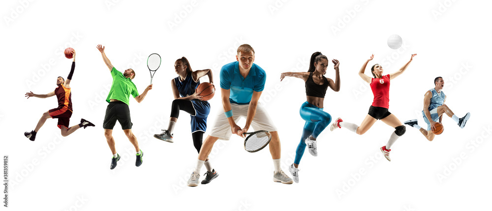 Fototapeta Collage of different professional sportsmen, fit men and women in action and motion isolated on white background. Made of 7 models. Concept of sport, achievements, competition, championship.