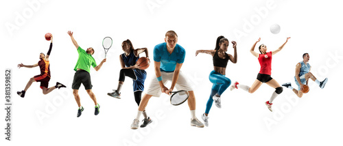 Collage of different professional sportsmen, fit men and women in action and motion isolated on white background. Made of 7 models. Concept of sport, achievements, competition, championship.