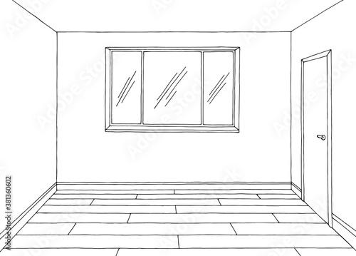 Photo Room graphic black white home interior sketch illustration vector