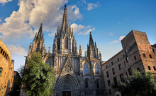 Gothic Cathedral In Barcelona,...