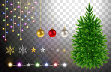 Christmas Tree And Decorative Elements