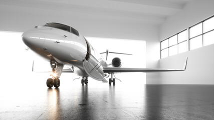 A luxury white private business jet with black wings is parked in airy hangar awaiting first-class passengers for an international flight. The plane is preparing for departure. Flare light. 3d render.