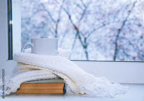 Fototapeta Mug of hot tea and warm woolen knitting on windowsill against snow landscape from outside. obraz