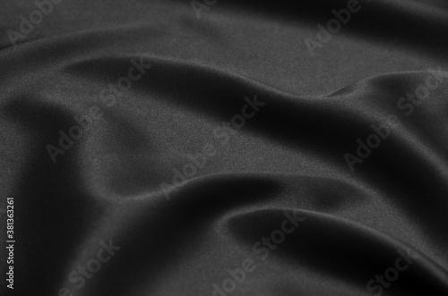 Fotografie, Obraz Black fabric satin texture for background