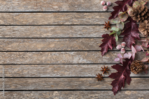 Slika na platnu Autumn fall thanksgiving day floral composition with dried leaves
