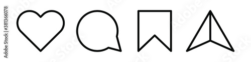 Obraz Like, comment, share and save. Modern vector icons isolated on white background. - fototapety do salonu