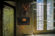 Letterbox And Window With Cobwebs In Abandoned House. High Quality Photo