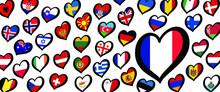 France Eurovision Europe Contest Song 2021 Funny Euro Country Map Heart Flag Logo Symbol Fun Music Festival Icon Songfestival Hearts Countries Europe