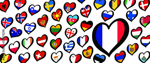 Fotografie, Obraz France Eurovision europe contest song 2021 Funny euro country map heart flag log