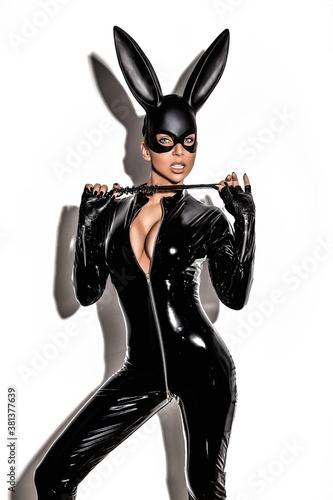 Halloween sexy girl in bunny costume Fototapeta