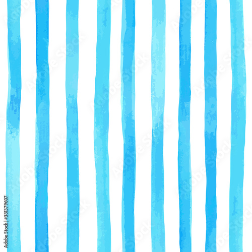 Valokuva Beautiful seamless pattern with vertical blue watercolor stripes