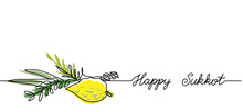 Happy Sukkot Simple Web Banner...