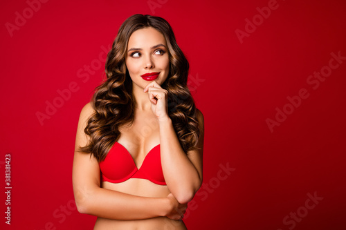 Close-up portrait of her she nice-looking attractive lovable gorgeous glamorous minded pensive curious wavy-haired girl overthinking isolated on bright vivid shine vibrant red color background
