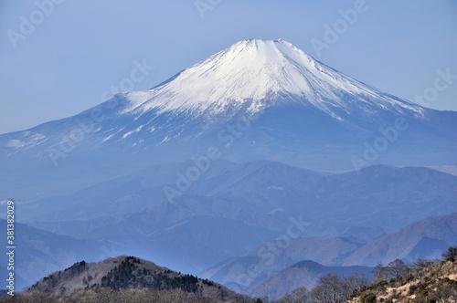 Fototapeta 冬の丹沢山地からの展望 小丸より望む富士山