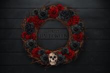 Halloween Wreath With Skulls A...