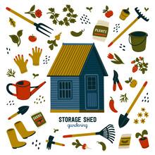 Storage Shed. Blue Storage She...