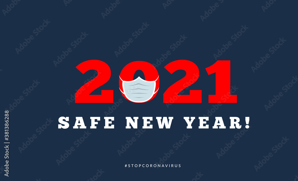 Fototapeta Happy new year 2021 with medical mask. Vector illsutration