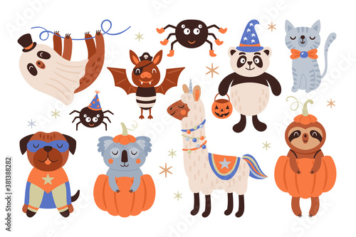 Naklejka premium Halloween holiday cute animals in costumes set. Childish print for cards, stickers, apparel and nursery decoration. Vector Illustration