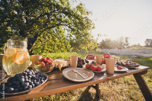 Served table free time sunny day on fresh air useful organic bio natural lunch l Wallpaper Mural