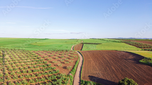 Fototapeta Aerial view of vast farmland with a country road on the middle obraz