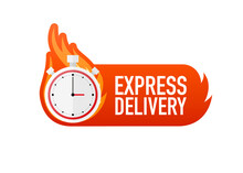 Flat Icon With Express Fast Delivery For Banner Design. Courier Service. Food Delivery Service. Vector Illustration.