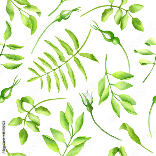 Fototapeta Watercolor lush greenery seamless pattern. Hand painted green leaves and white roses buds isolated on white background. Texture design for wallpaper, cards, decoration, wrapping paper, textile obraz na płótnie