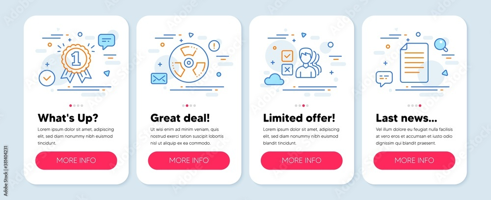 Fototapeta Set of Business icons, such as Reward, Chemical hazard, Opinion symbols. Mobile app mockup banners. File line icons. First place, Toxic, Choose answer. Paper page. Reward icons. Vector