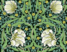 Vintage White Flowers And Green Foliage Seamless Ornament. Vector Illustration.