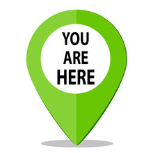 You Are Here. Green Location Navigation Pin.