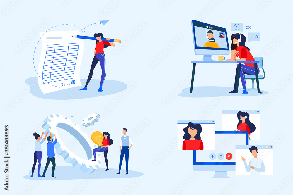 Fototapeta Set of business people concepts. Vector illustrations of video meeting, conference call, work from home, project development, business contract, electronic signature.
