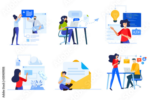 Set of business people concepts. Vector illustrations of online communication, web development, coding, cloud computing, support, digital marketing, social network.