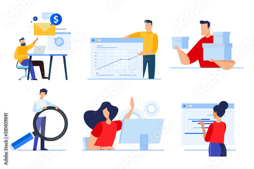 Set of business people concepts. Vector illustrations of ta analytics, business presentation, planning, social media, human resources, delivery, seo.