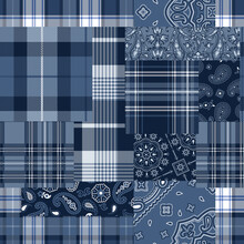 Bandana Motifs And Tartan Plaid Fabric Patchwork Abstract Vector Seamless Pattern Wallpaper