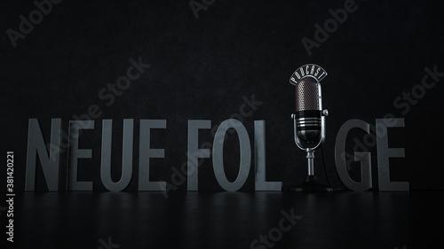 Fototapeta Mikrofon Podcast Neue Folge obraz