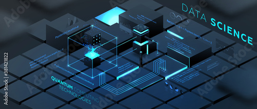Fototapeta Artificial intelligence and robotic quantum computing processor isometric concept for business technology, engineering and innovations design. Eps10 vector illustration obraz