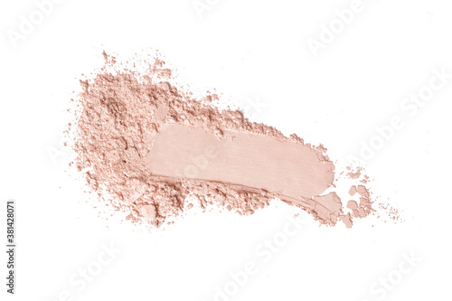 Fototapeta Beige cosmetic or make up powder isolated on white.	 obraz