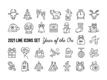 Vector Set Of Icons For New Year 2021 And Christmas. Chinese Year Of The Ox. Outline Silhouette Is Black On A White Background. Bull, Deer, Champagne, Candles, Gift And Sale.