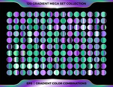 Trendy Colorful Gradient Shiny Purple And Green Color Combination Mega Set Collection Of Metal Palettes For Border Frame Ribbon Cover Label Templates