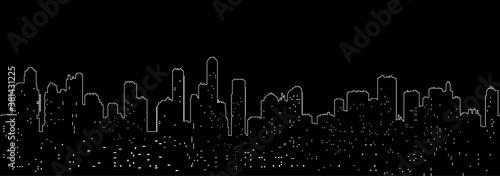 Fototapeta One line cityscape silhouette