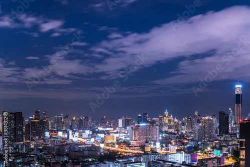 cityscape of nightligth Bangkok city skyline with twilight sky background, Bangk Canvas