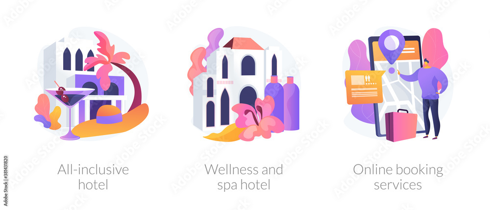 Fototapeta Luxury hotels metaphors. All inclusive resort, wellness and spa hotel, online booking service. Accommodation rent, travel planning. Room reservation. Vector isolated concept metaphor illustrations.