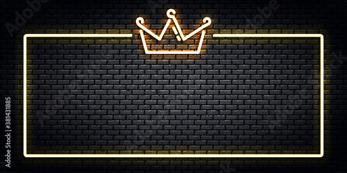 Tablou Canvas Vector realistic isolated neon sign of Crown frame logo for decoration and covering