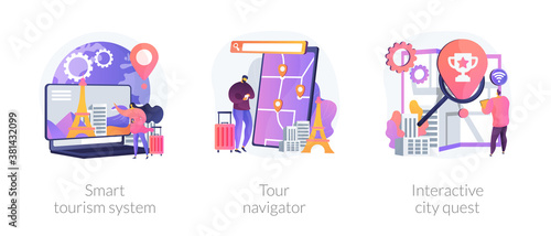 Sightseeing adventure planning metaphors. Smart tourism system, tour navigator, interactive city quest. Abroad country active recreation. Vector isolated concept metaphor illustrations.